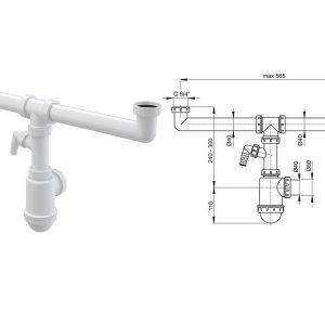 Sifon za dvodelnu sudoperu 6:4″