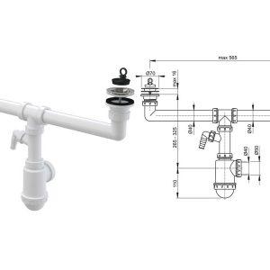 Sifon za dvodelnu sudoperu sa priključkom za veš mašinu