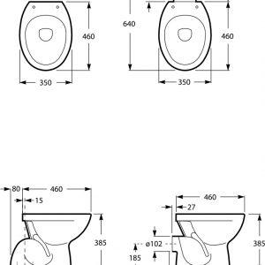 Polo wc šolja stojeća grafički crtež